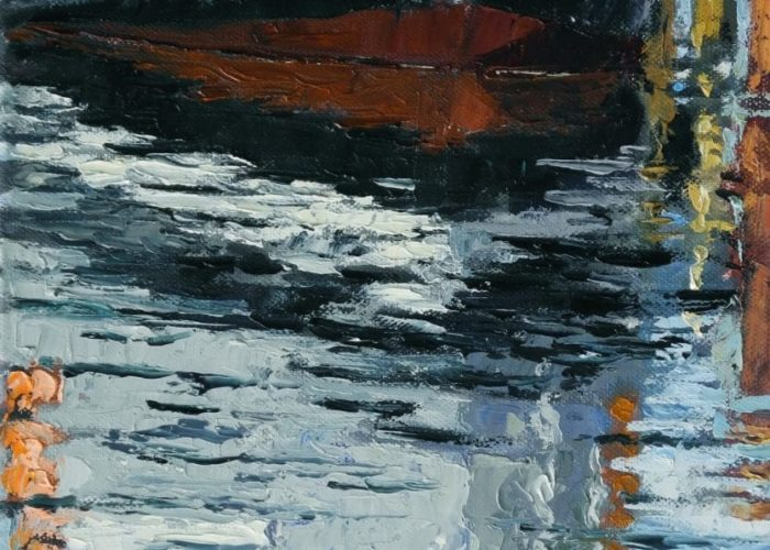 Im Hafen von Kühlungsborn, 2018, Öl auf Leinwand, 30 x 25 cm (c) Thomas Freund