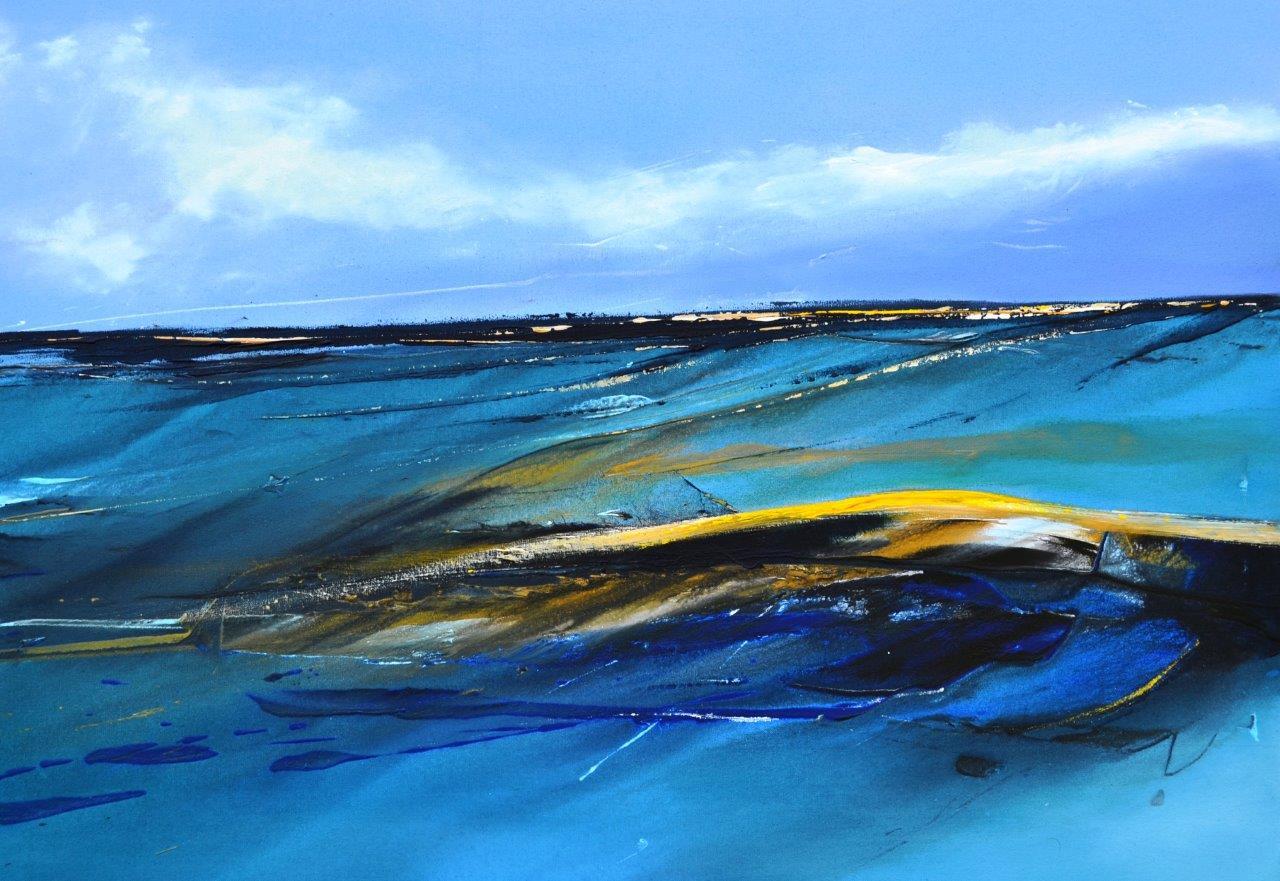 y 8 Hinrich JW Schüler - Abstrakte Landschaft 8-2015, 70 cm x 100 cm, Acryl auf Baumwollsegeltuch