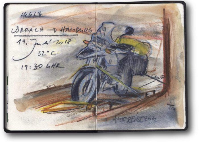 Von Schottland nach Venedig mit Zweirad, Zelt und Zeichenblock (c) Zeichnung von Jens Hübner (2)_kl