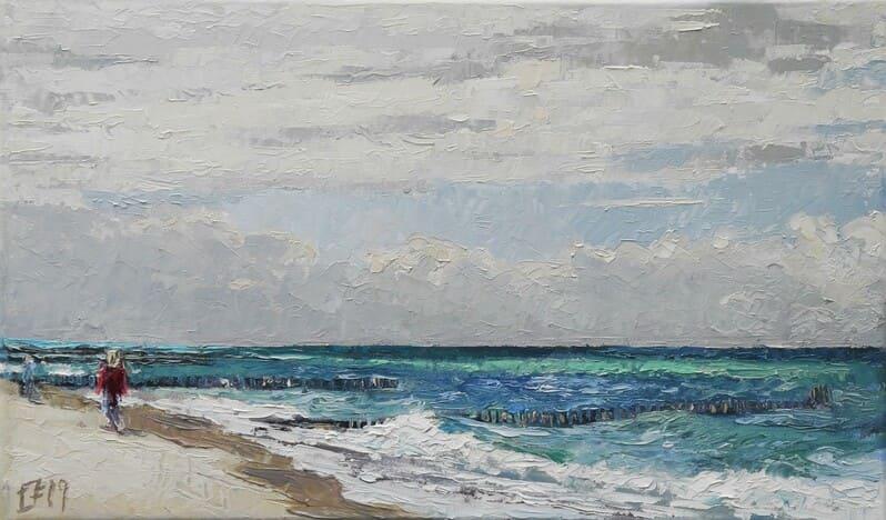 Am Strand von Kühlungsborn, 2019, Öl auf Leinwand, (c) Thomas Freund