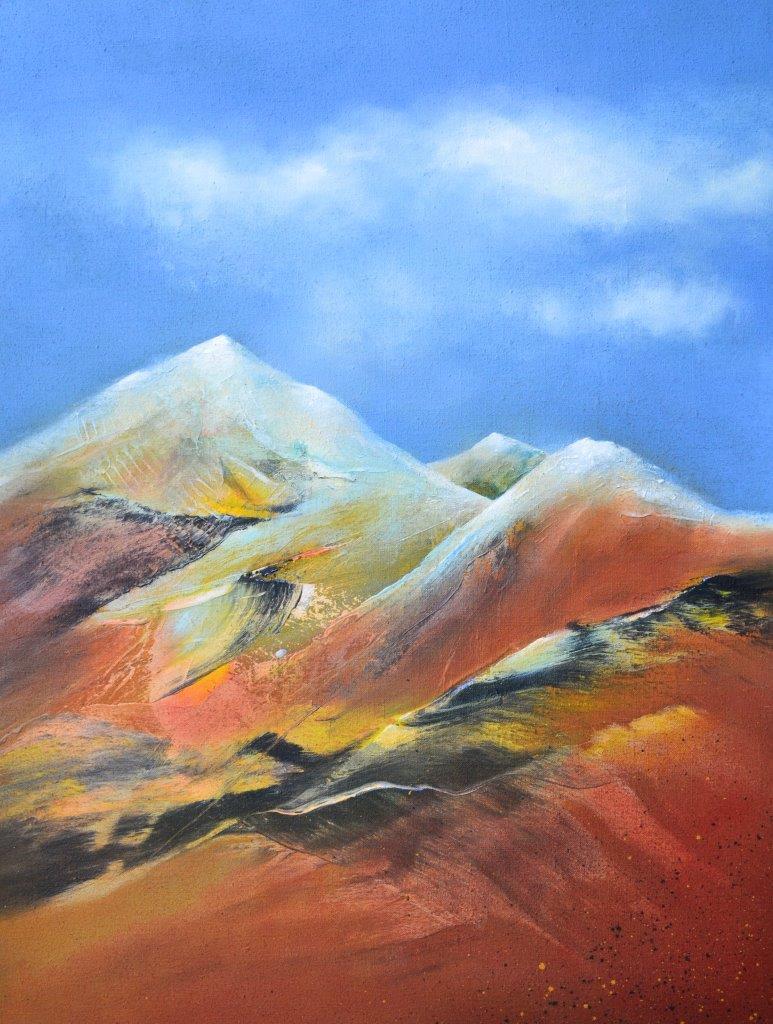 "Hinrich JW Schüler: ""Abstrakte Landschaft 26-2015"", 160 cm x 120 cm, Acryl auf Jute"