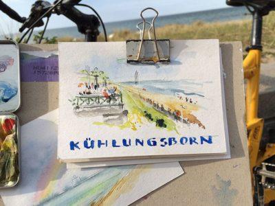 Strandpromenade - urban sketching von Jens Hübner